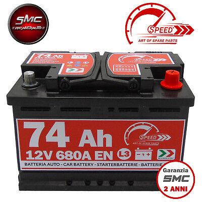 BATTERIA AUTO SPEED L3 74 Ah 680A EN = BOSCH FIAMM VARTA 74 DX + PRONTA ALL'USO