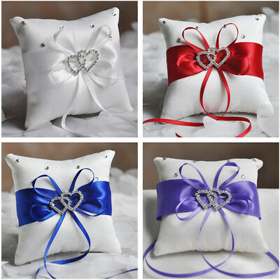 Wedding Bridal Bowknot Double Heart Ring Bearer Pillow Cushion Pretty Home Decor