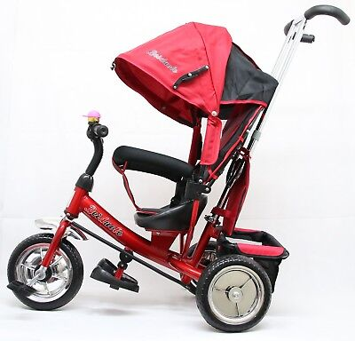Kids Tricycle 3 Wheels Bike Children Trike With Parent Handle Control and Roof
