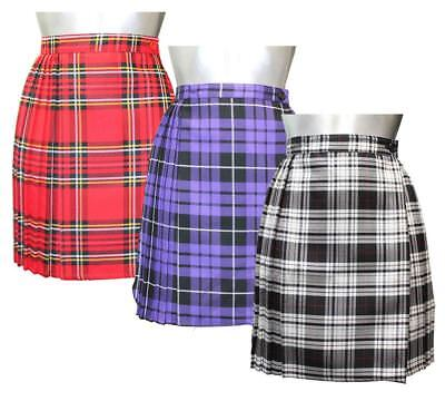 f9a135682 Womens Tartan Pleated Wrap Over Skirt Ladies 18 Inches Buttoned Kilt Short  Skirt