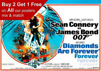 James Bond Diamonds Are Forever 1971 Movie Poster A5 A4 A3 A2 A1