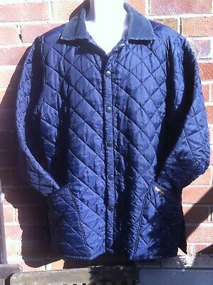 "Barbour Liddesdale blue quilted Country Designer jacket size 44"" large"
