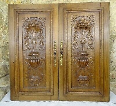 Pair Antique French Renaissance Solid Oak Carved Wood Door
