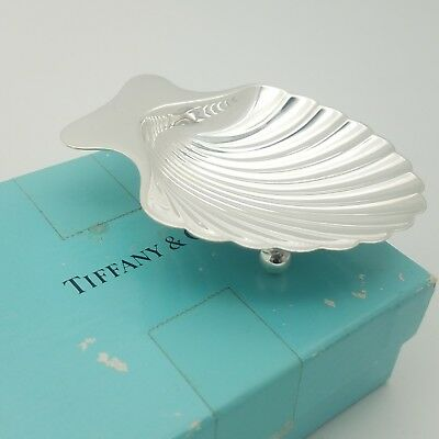 Tiffany & Co. Makers Sterling Silver Sea Shell Nut Candy Dish Bowl Tray With Box