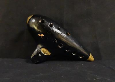 Antique Pottery Earthenware Flute Whistle with Eagle Mark Nice!