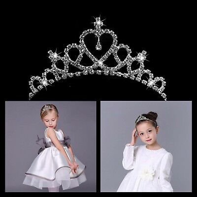 Rhinestone Crystal Tiara Hair Band Kid Girl Bridal Princess Prom Crown Headband