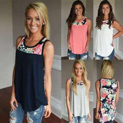 UK Womens Sleeveless Floral Vest Tops Summer Ladies Casual Blouse T Shirt 6 - 20