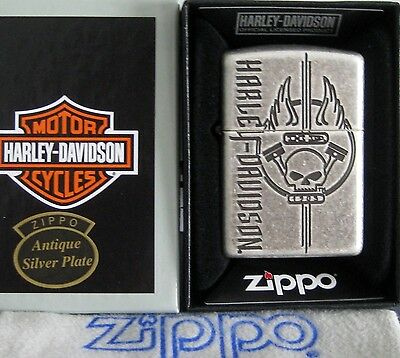 ZIPPO  Harley Davidson ARMOR Lighter H-D  ANTIQUE SILVER PLATE Mint In Box  NEW