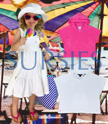 4014de4023 POLO RALPH LAUREN COVERUPS Girls Terry Hoodie Dress Swimsuit Coverups Pink  White