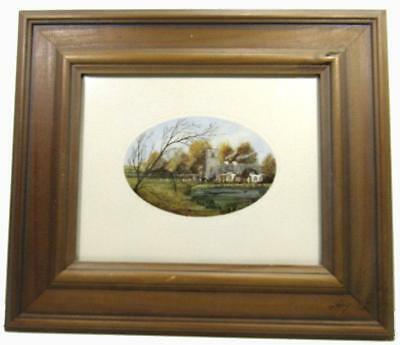 Print 1980's Circa Stella P Reading English Country Wood Framed 33 x 37.5 cm