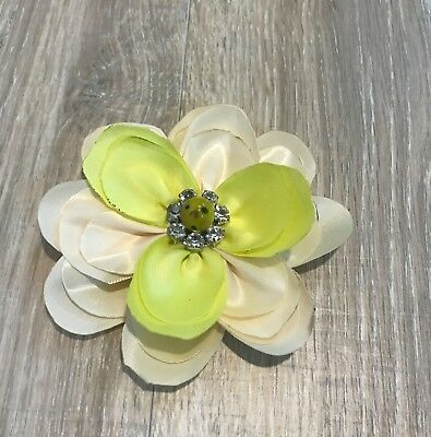 "Handmade Satin Ribbon Flower Hair Bow 4"" Clip Headband Options Ivory&yellow"
