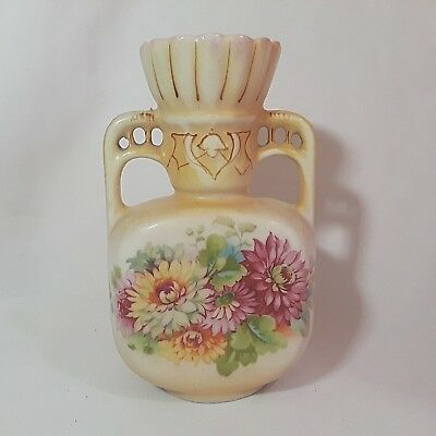 Antique Austrian Vase HANDPAINTED FLOWERS Porcelain Urn DOUBLE HANDLES Austria