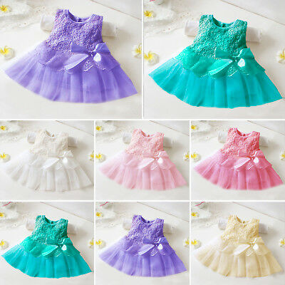 Newborn Baby Girls Princess Wedding Party Bowknot Lace Flower Tutu Tulle Dress