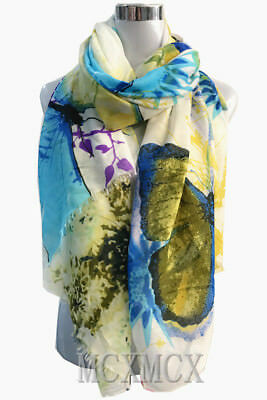 Soft Quality Blue Big Butterfly Flower Pattern Scarf Warp Stole for Ladies Gift