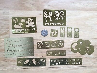 Lot of 12 Baby Lasting Impressions Brass Embossing Stencil template