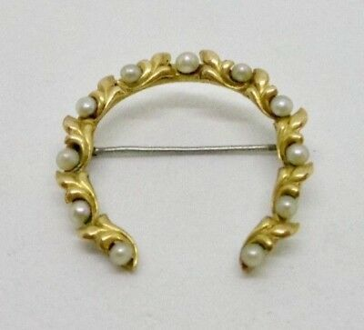 14K Yellow Gold Pearl Horseshoe Wreath Pin Brooch Pendant Vintage