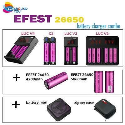 Efest LIMN 26650 4200mah 50A high Drain Rechargeable battery case charger Combo