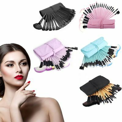 32 Pieces Soft Cosmetic Eyebrow Shadow Makeup Brush Set Kit With Pouch Bag