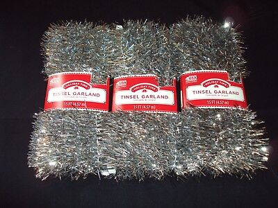 New Lot Of 3 Holiday Time SILVER Christmas Tree Tinsel Garland Ornament 45 Ft