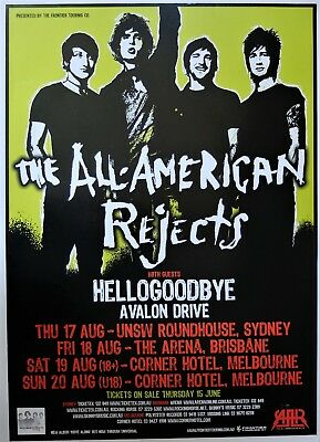 ALL AMERICAN REJECTS POSTER AUSTRALIA TOUR 2005 Move Along CD Punk Emo Rock A2