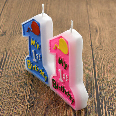My 1st Birthday Moulded Candle Lovely Cake Ornaments Boys Girls Favor Decor