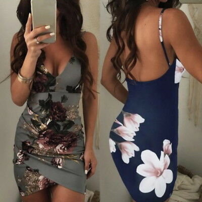 Summer Women Fashion Sexy V-neck Floral Bodycon Strap Dress Casual Mini Sundress