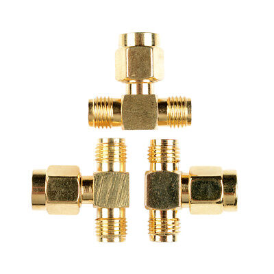 SMA Male to Two SMA Female Triple T RF Adapter Connector 3 Way Splitter GOOD