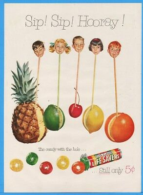 1954 Life Savers Five Flavor Candy With Hole Kids Drinking Fruits Straw Print Ad