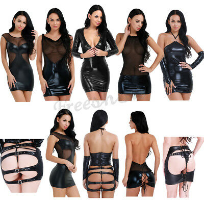 HOT Sexy Women Shiny Wetlook Leather Bodycon Mini Party  Dress Bodycon Clubwear