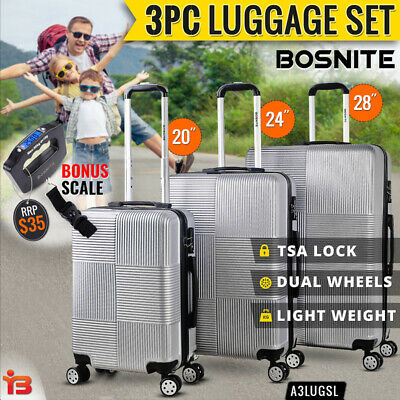 3pc Luggage Suitcase Trolley Set TSA Travel Carry On Bag Hard Case Lightweight F