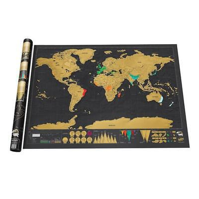 Small Scratch Off World Map Deluxe Edition Travel Log Journal Poster Wall Decor