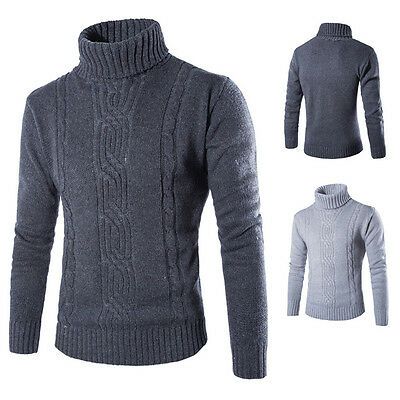 AU Fashion Men's Knitted Polo Roll Turtle Neck Pullover Wool Sweater Jumper Tops