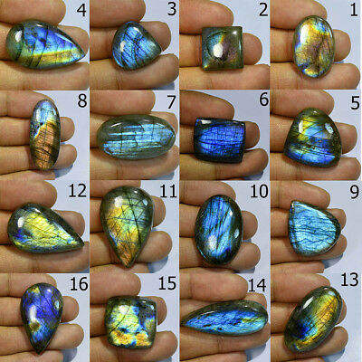 Excellent!! Natural Labradorite Cabochon Multi Fire Gemstone ZA13