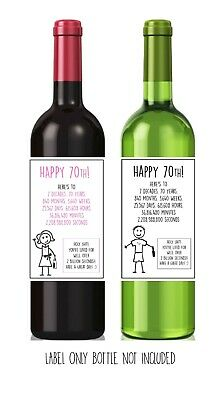Funny Alternative Sarcastic WINE LABEL 70th Birthday Present Gift