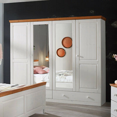 kleiderschrank schrank landhaus massiv kiefer weiss mit. Black Bedroom Furniture Sets. Home Design Ideas