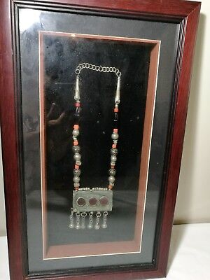 Framed Antique Chinese silver coral crystal statement necklace