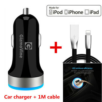 USB Car Charger with 3FT Cable Fast Charger Car Charger for iphone 7 6 5 iPad