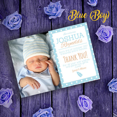 Personalised Photo New Baby Thank You Cards | Boy/Girl Announcement Thank You