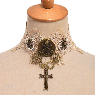 Steampunk Gear Skull Clavicle Chain Necklace Vintage Victorian Beige Lace Choker