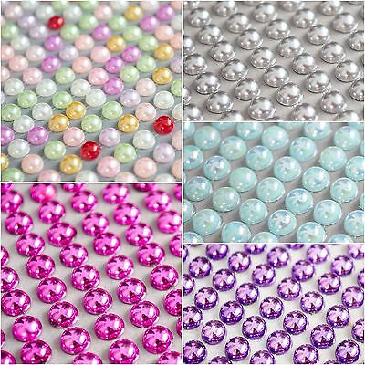 120 x 8mm Self Adhesive half PEARLS flat back  Rhinestone Gem Sticker Metallic
