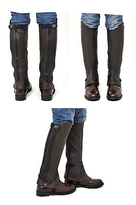 "Riders Trend Adult Full Grain Leather Gaiter Chaps Horse Brown S Height 15"" 38cm"