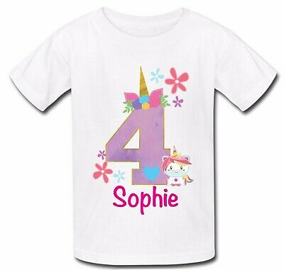 Personalised unicorn face horn Birthday top tshirt t shirt age 3 4 5 6 7 8 9 10