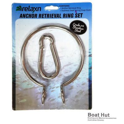 New Anchor Retrieval Ring Set 316 Stainless Steel with Spring Snap Hook 37094