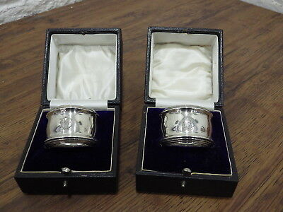 Pair Cased Sterling Silver Napkin Rings Hallmarked William Henry Sparrow 1917