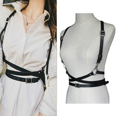Fashion Sexy Women Men Faux Leather Belts Body Harness Waist Straps Black Camel