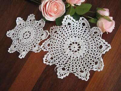 Two Pretty Matching White Hand Floral Crochet Cotton Round Doily