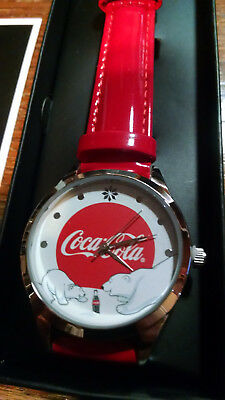 Coca-Cola Avon Christmas Bears Red Band Wrist Watch Original Box & Instructions