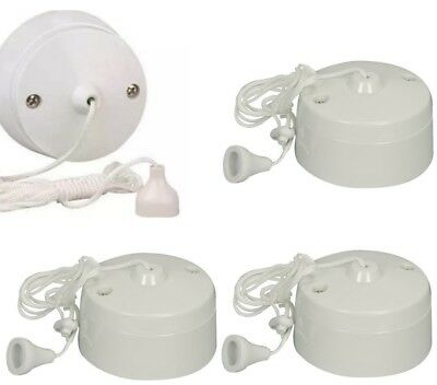 6Amp Ceiling Pull Cord Switch 1 or 2 Way Bathroom//Toilet Light Switches