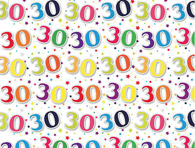 1 Sheet 30th Birthday Gift Wrap Wrapping Paper Age 30 Birthday Present Paper