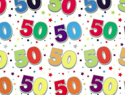 1 Sheet 50th Birthday Gift Wrap Wrapping Paper Age 50 Birthday Present Paper